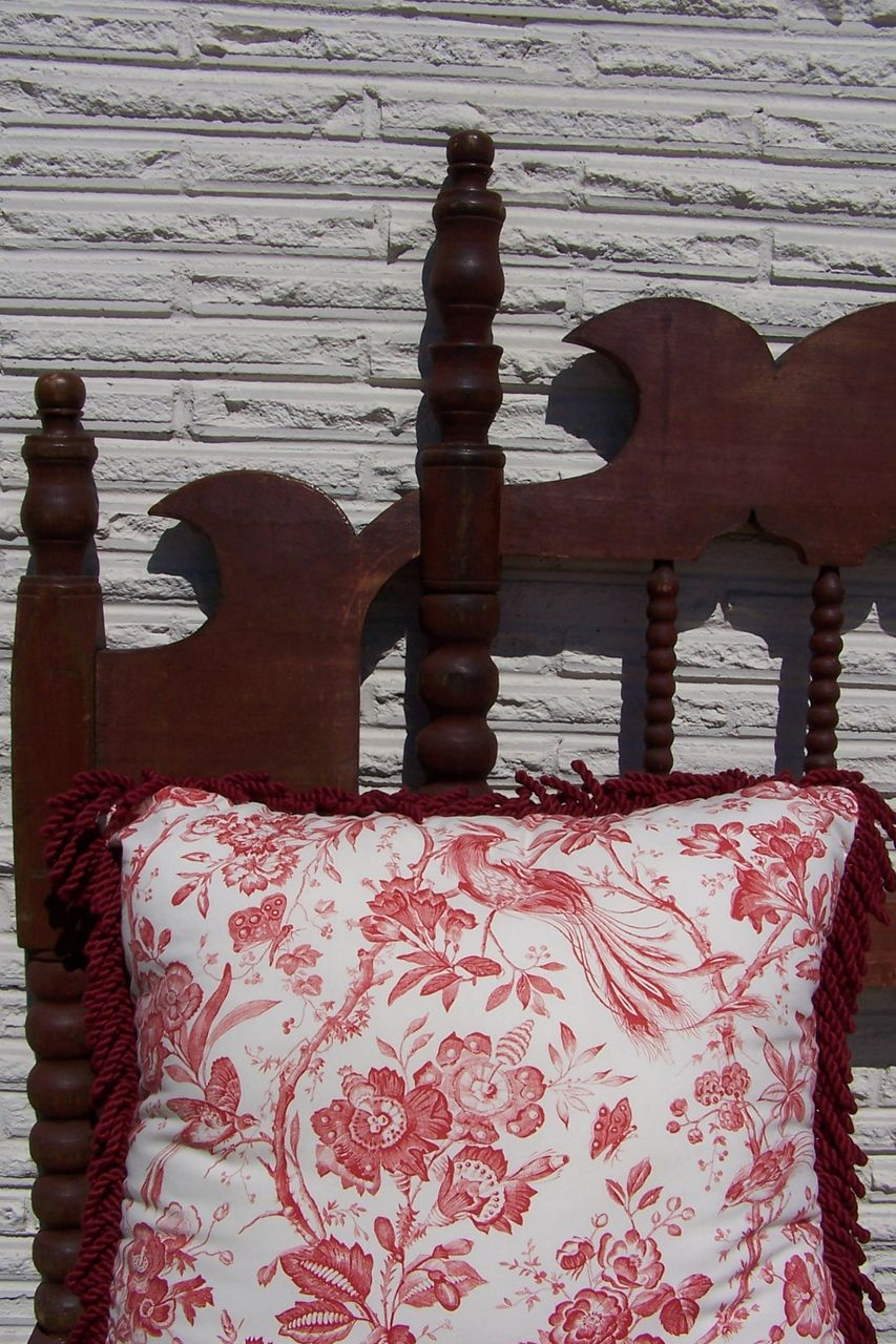 Wonderful Antique Red Painted King Size Headboard Bed From