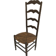 19th Century French Country Ladder Back Chair with Rush Seat