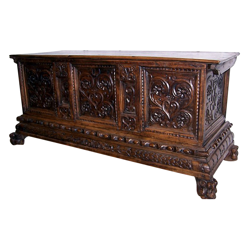 Italian Carved Walnut Cassone
