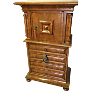 Swiss Circassian Walnut Cupboard Cushion Molded Door Four Drawers Bun Feet