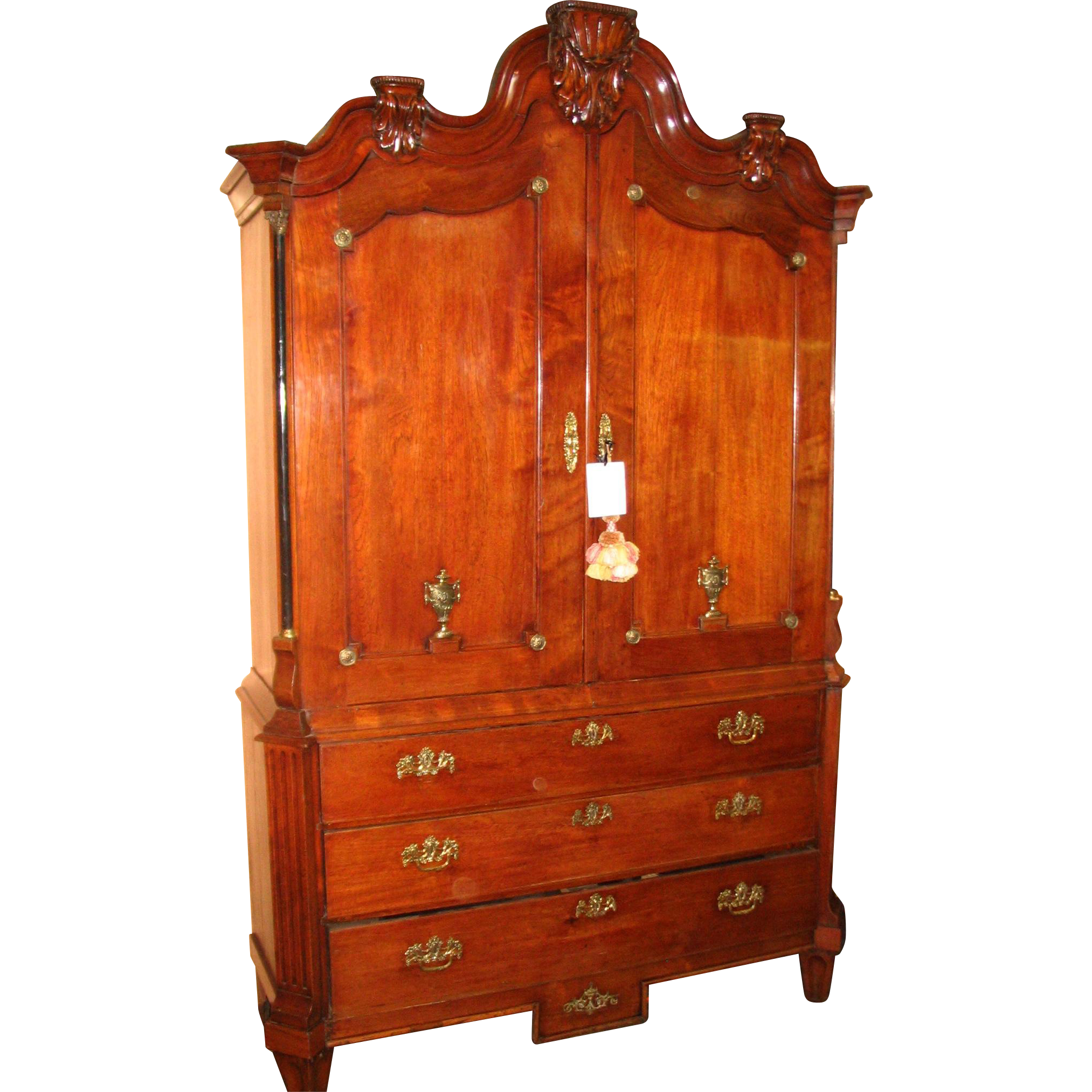 18th Century Dutch Neoclassical Linen Press From