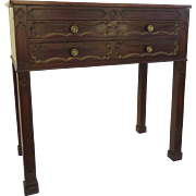 English Mahogany Small Sideboard Server with Three Drawers Marlborough Foot Gilt Drawer Fronts