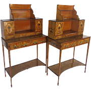 Pair of English Satinwood Painted Adam Style Desks Sideboards Floral Ribbons Urns