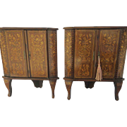 Pair of European Marquetry Inlaid Corner Cabinets c 1870