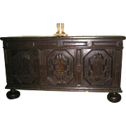 European Huge Painted Chest Coffer Trunk c 1845