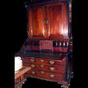 George III Mahogany Slant Front Bookcase Fret English