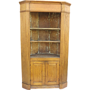 English Pine Corner Cabinet with Fluted Sides Paneled Doors
