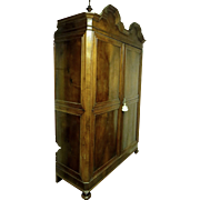 Large Boldly Molded Walnut Regence Style Two Door Armoire Cabinet Geometric Double Bonnet Top