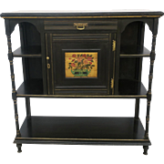 Ebonized Art and Crafts Narrow Bookcase Cabinet Sideboard Etagere with Gilt Panel & Pin Striping