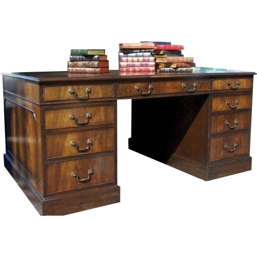 English Mahogany Two Pedestal Partners Desk