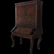 Italian 18th Century Marquetry Secretaire Bookcase Desk Cabinet