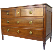 French Walnut Directoire Four Drawer Commode