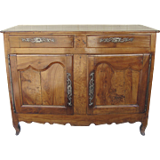 French Fruitwood Commode Two Drawers Two Doors Iron Hardware