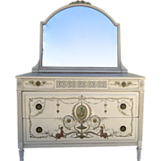 c 1900 Neoclassical Painted Chest of Drawers with Mirror