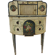 Italian Venetian Painted Demilune Small Writing Desk Tambour Door Portraits Garland Ribbons