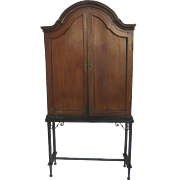 Dutch Linen Cabinet Shaped Top Custom Wrought Iron Base on Stand 19th C