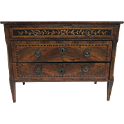 18th Century Italian Neo-Classical Commode 3-Drawer with Marquetry and Ebony Inlay Original Brass Hardware