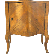 Italian Miniature Fruitwood Bombe Parquetry  Commode One Door