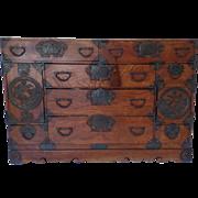 19th Century Japanese Wood Sedai Dansu Kimono Clothing Tansu Iron Hardware Elaborate Chrysanthemum Ironwork