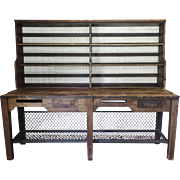 Early 20th Century Mail Sorting Postal Table Sideboard Upper Rack Lower Iron Rack