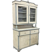 19th Century European Cabinet Two Part Glass Doors Painted Kitchen Farm House