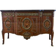 Fine Louis XVI Style Ormolu Mounted Marquetry Commode with Marble Top