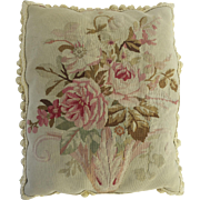 Aubusson Pillow, Down-Filled with Tassel Trim, 19th C