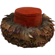 Vintage Thick Layer Feather Wide Brim Velvet Hat