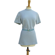 "1960's Light Blue Knit Tunic Top with Belt ""Kimberly"""