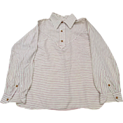 1950's Wool Striped Shirt Blouse Great Detail for Study Repair