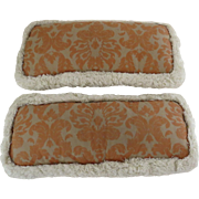 Two Long Narrow Bolster Cushions Pillows with Cotton Fringe