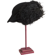 1920's 1930's Cloche Black Felt Ostrich Hat