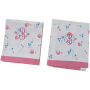 Pair of Vintage Floral Pink Embroidered Monogram King Pillowcases Léron, Inc. New York