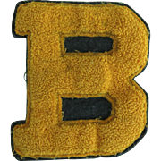"Vintage Chenille Letterman Jacket Patch Letter ""B"" Gold"
