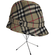 Vintage Burberrys Nova Plaid Wool Hat Made in England Marked Size 7 1/2