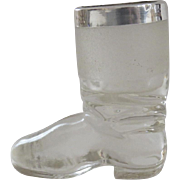 C 1880 Glass Sterling Equestrian Riding Boot Match Holder Strike Striker English Horace Woodward & Co. Birmingham