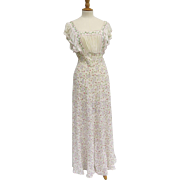 Vintage Nightgown Romantic Embroidered Gathered Bodice