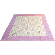 "Vintage Hand Knotted Quilt Pink Border 67"" by 82"""