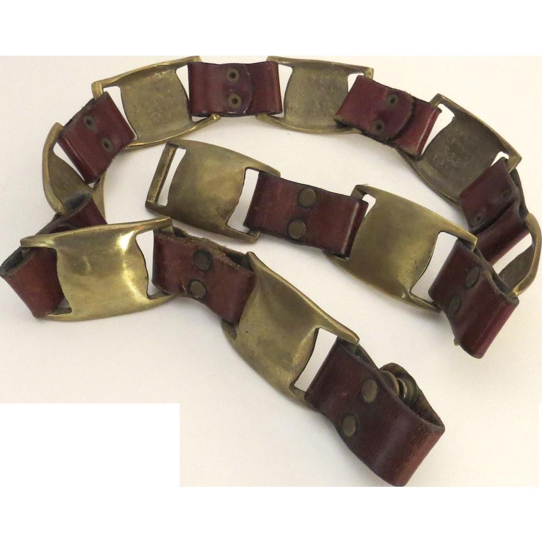 Vintage Leather and Brass Belt Hippy BoHo