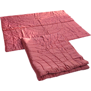 "Vintage Pair (2) Pink Satin Bed Quilts Coverlets Bedspreads Blankets 69"" by 79"""