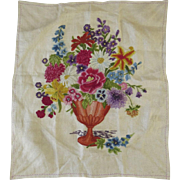 Vintage Wool Embroidery on Linen Urn Flowers Pillow Cushion