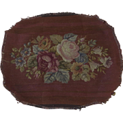 Vintage Oval Needlepoint Burgundy Ground Flowers Center