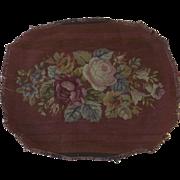 Vintage Oval Needlepoint Burgundy Ground Flowers Center