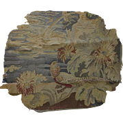 Vintage Old Tapestry Fragment Very Worn Study or Restoration Bird