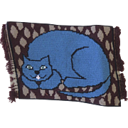 Vintage Needlepoint Needlework Piece Cat Pillow Cushion