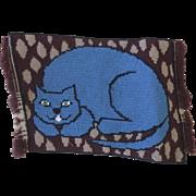 Vintage Needlepoint Needlework Piece Cat Pillow Cushion