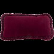 Vintage Burgundy Velvet Small Cushion Pillow with Matching Fringe