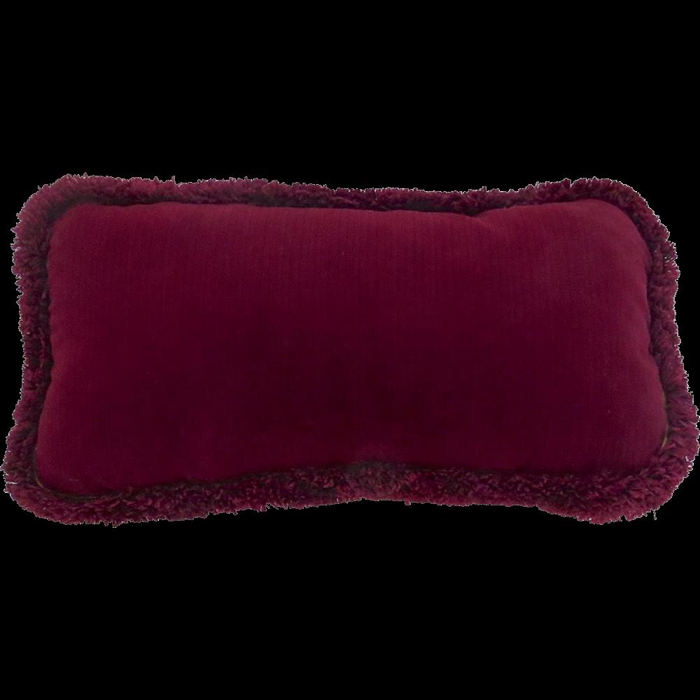 Vintage Burgundy Velvet Small Cushion Pillow with Matching Fringe from blacktulip on Ruby Lane