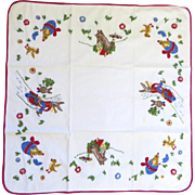 Child's Table Cloth Embroidered Easter Rabbits Bunnies Chicks Eggs