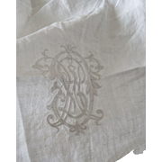 19th Century Piece of French Linen with Embroidered Monogram Restoration Study
